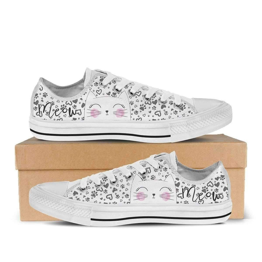 Low Top Canvas - Meow Cat - Beautiful Women's Low Top Canvas Sneakers