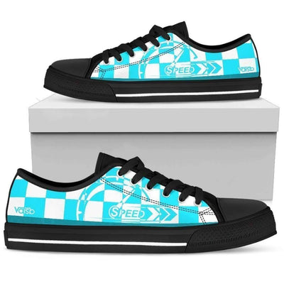 Low Top Sneakers - Checkered Speed - Women's Low Top Canvas Sneakers (Black)
