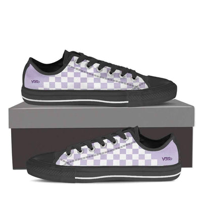 Low Top Sneakers - Checkered - Women's Low Top Canvas Sneakers (Black)