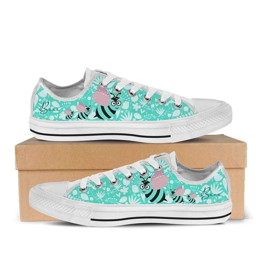 Low Top Sneakers - Cute Bee - Women's Low Top Sneakers In White And Black