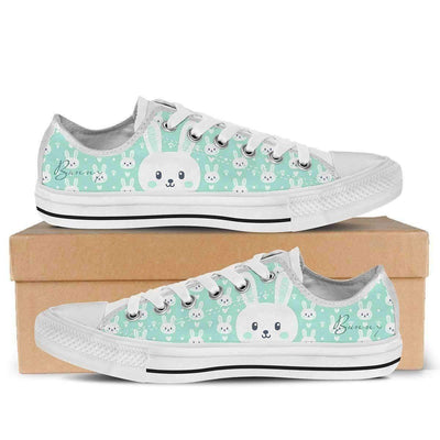 Low Top Sneakers - Cute Bunny - Women's Low Top Canvas Sneakers In White