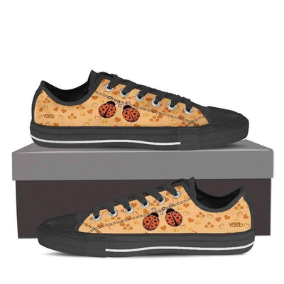Low Top Sneakers - Cute Ladybug Shoes - Womens Low Top Sneakers In Black
