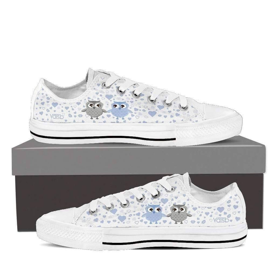 Low Top Sneakers - Cute OWL - Women's Low Top Sneakers In White