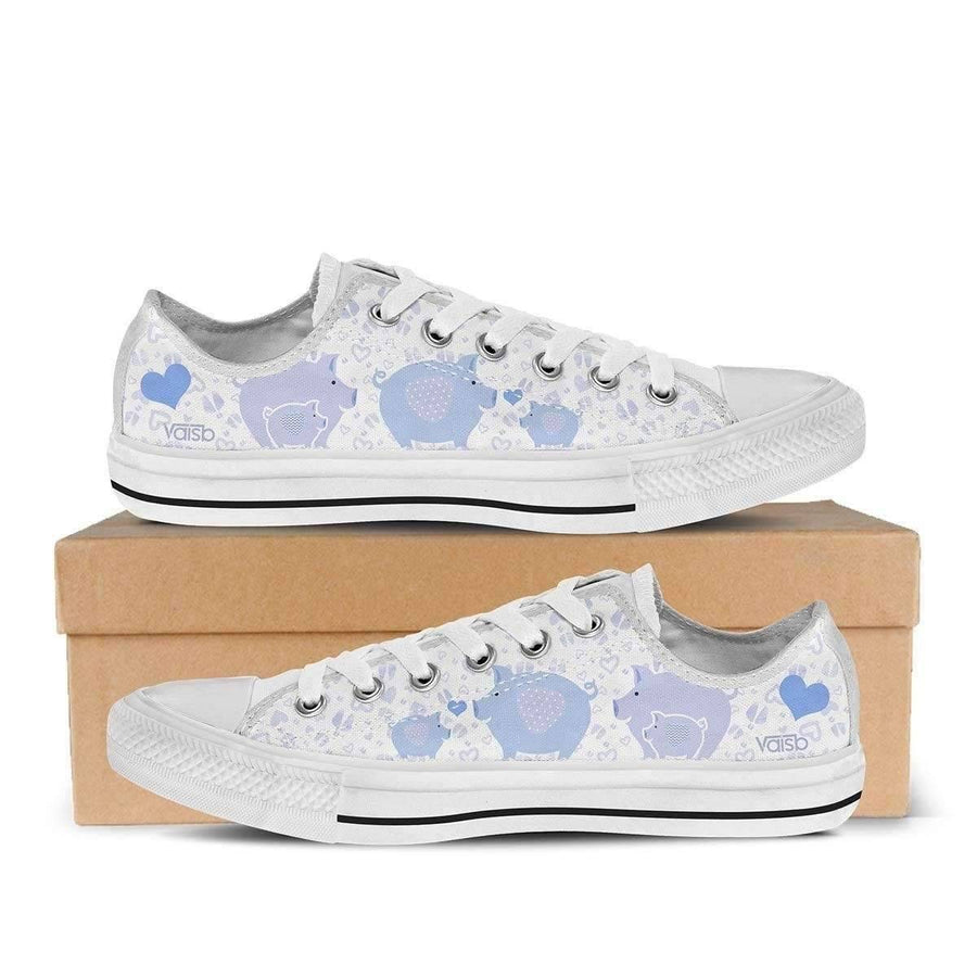 Low Top Sneakers - Cute Piggy - Women's Low Top Sneakers In White