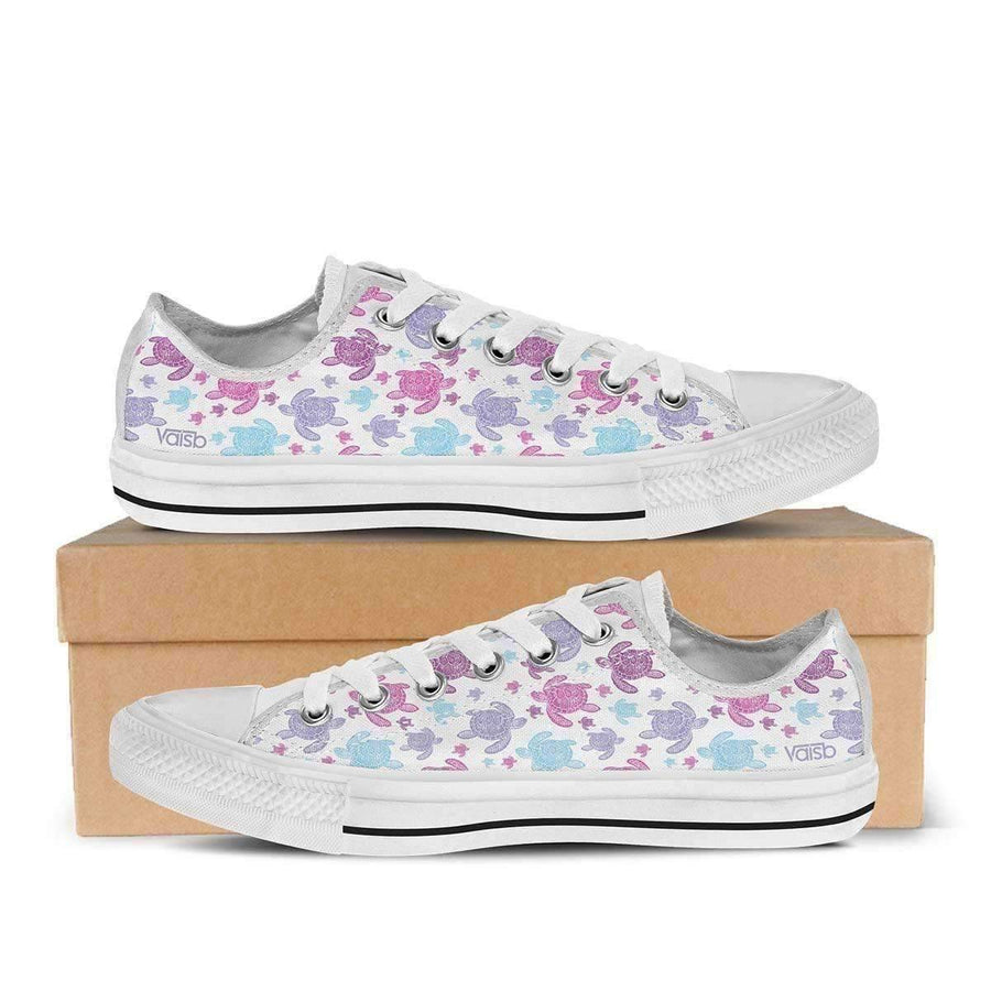 Low Top Sneakers - Cute Turtle - Womens Low Top Sneakers
