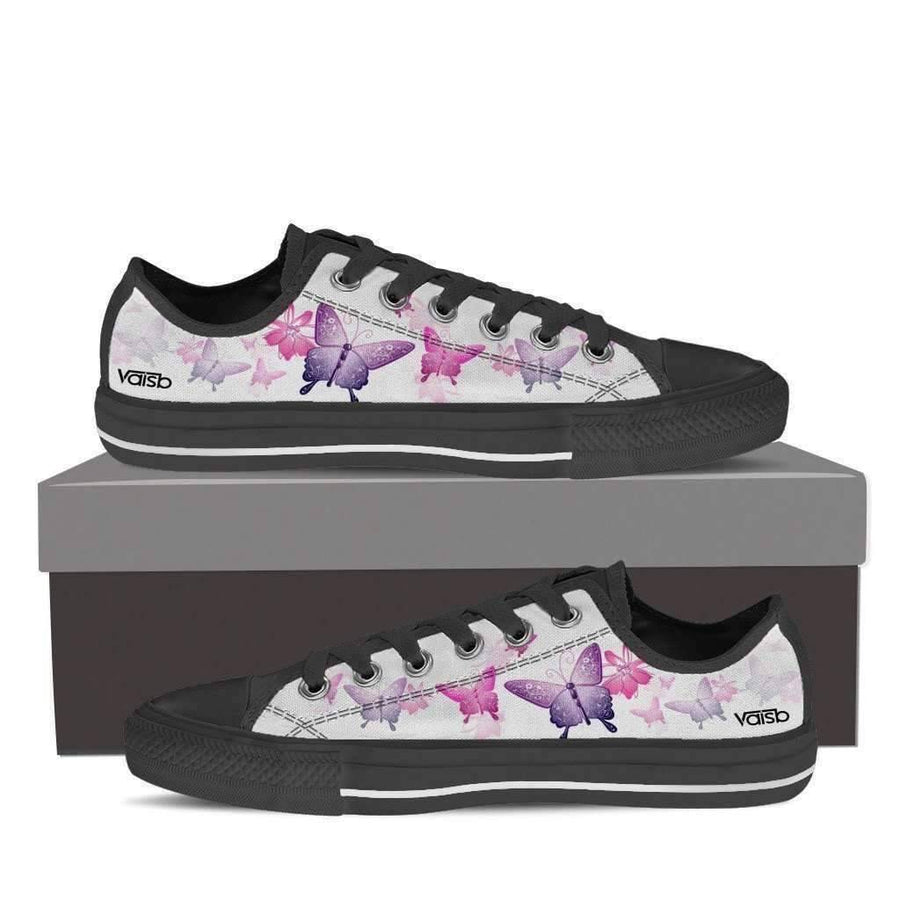 Shoes - Butterfly - Women's Low Top Canvas Sneakers (Black)