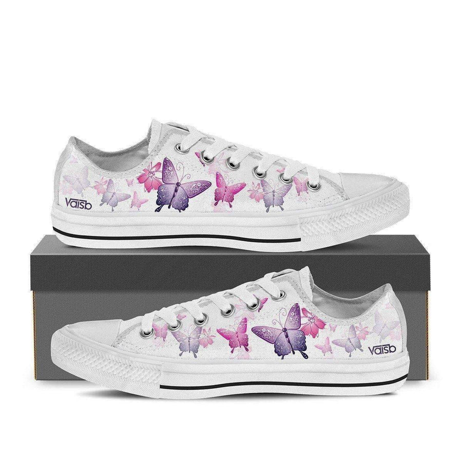 Shoes - Butterfly - Women's Low Top Canvas Sneakers (White)