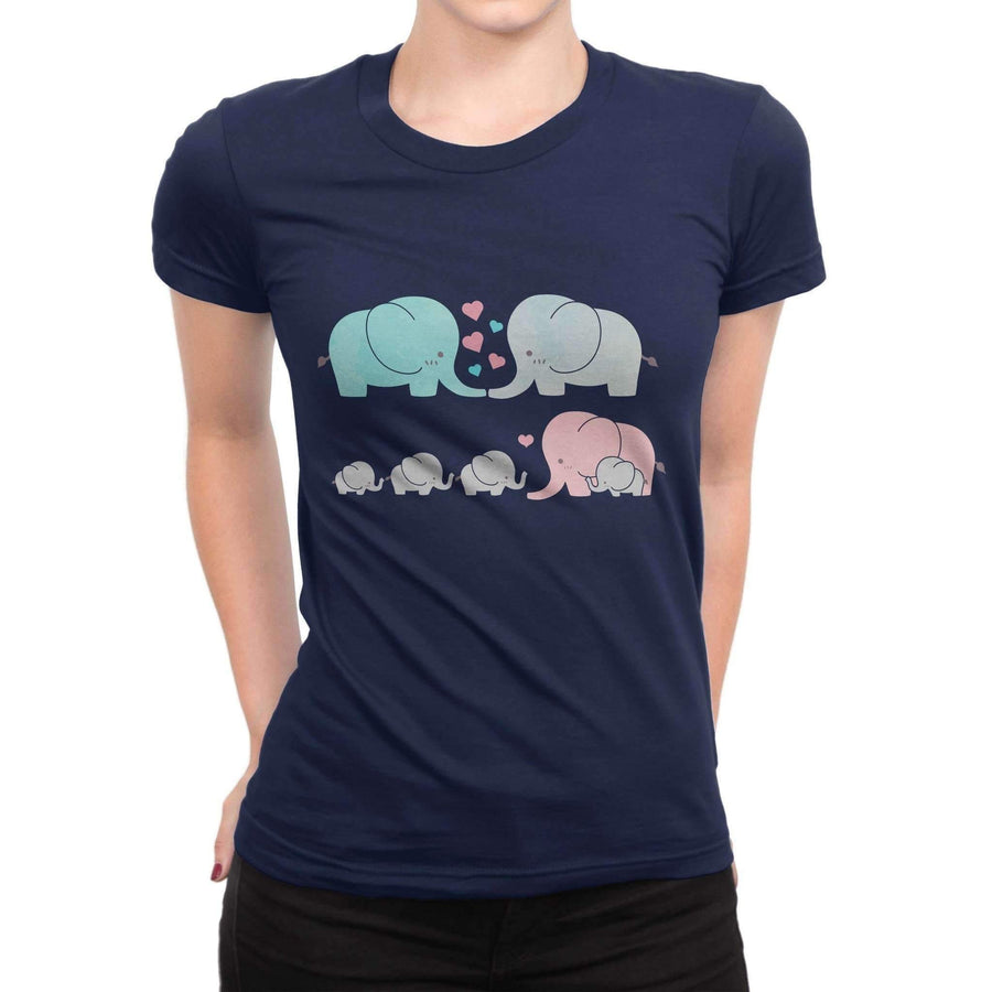 T-Shirts - High Quality 100% Cotton Women's Short Sleeve Elephant T-Shirt