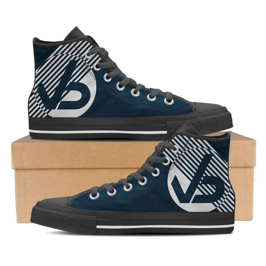 Vaisb Zebra Navy - Men's High Top Canvas Sneakers