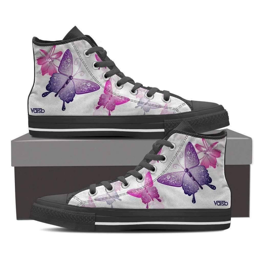 Womans High Top - Butterfly - Women's High Top Canvas Sneakers