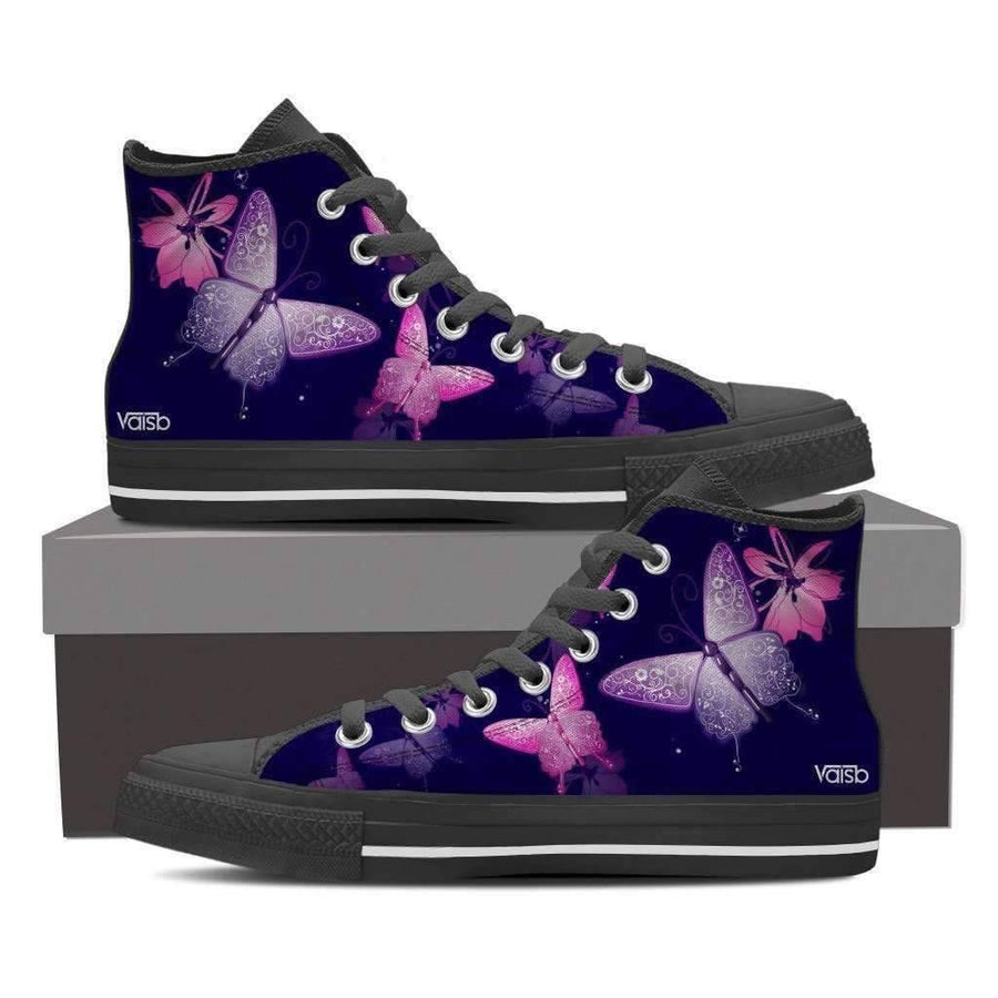 Womans High Top - Butterfly - Women's High Top Canvas Sneakers (Black)