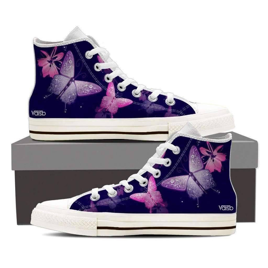 Womans High Top - Butterfly - Women's High Top Canvas Sneakers (White)