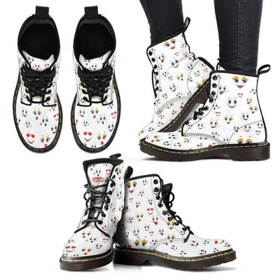 Womens Leather Boots - Cute Emoji - Womens Martens Leather Boots