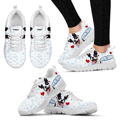 Womens Runners - Boston Terrier - Women's Sneakers (White)