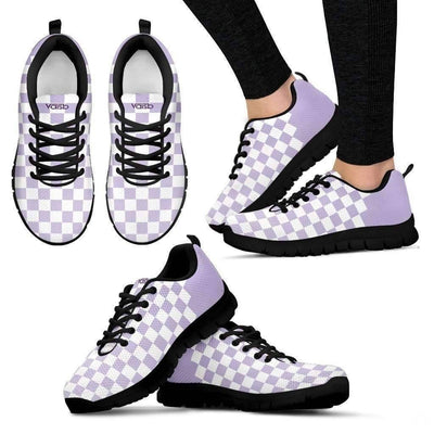 Womens Runners - Checkered - Women's Breathable And Lightweight Running Shoes (Black)