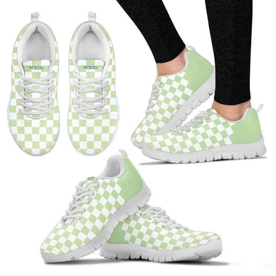 Womens Runners - Checkered - Women's Breathable And Lightweight Running Shoes (White)