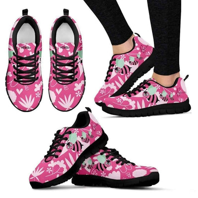 Womens Runners - Cute Bee - Breathable & Lightweight Women's Running Shoes In Black