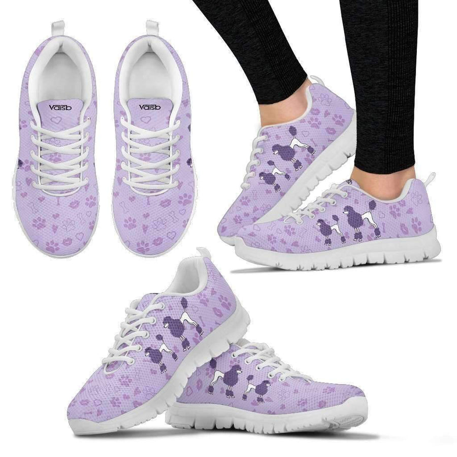 Womens Runners - Cute Poodle - Womens Breathable And Lightweight Running Shoes - White