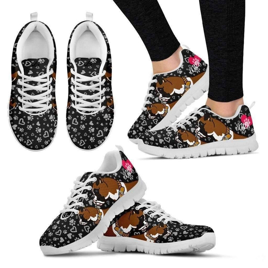 Womens Runners - Womens Cute Boxer - Breathable & Lightweight Running Shoes In White