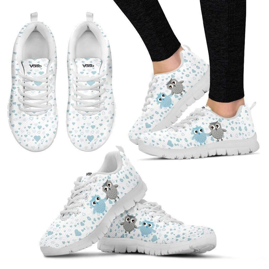 Womens Runners - Womens Cute Owl - Breathable & Lightweight Running Shoes In White