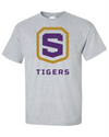Adult Sport Grey Cotton Short Sleeve T-Shirt | Tigers Shield