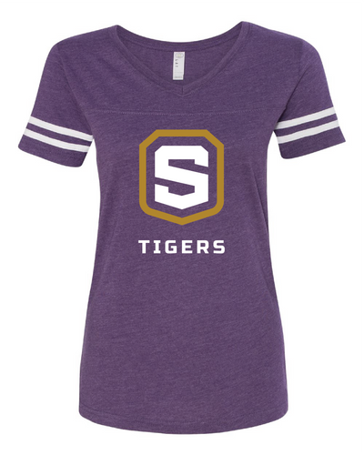 Women's Football V-Neck Jersey Tee | Tigers Shield