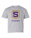 Youth Sport Grey Cotton Short Sleeve T-Shirt | Tigers Shield