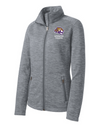 Women's Grey Digi Stripe Fleece Jacket  | Spencer Tigers - Tiger Head Embroidery