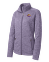 Women's Purple Digi Stripe Fleece Jacket  | Tiger Head Embroidery