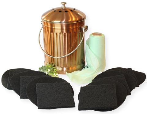 Kitchen Compost Pail – 1.3 Gallon Large Capacity, Leak proof Stainless Steel with Copper Finish - Includes 1 Year's Worth of Filters & Liner Bags