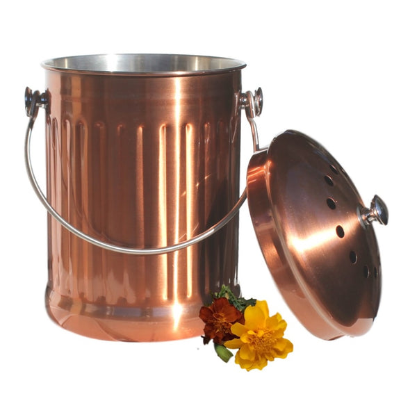 Imperfect Deals - 1.3 Gallon Compost Pail, Stainless Steel w/ Copper Coating (Factory Blemishes)