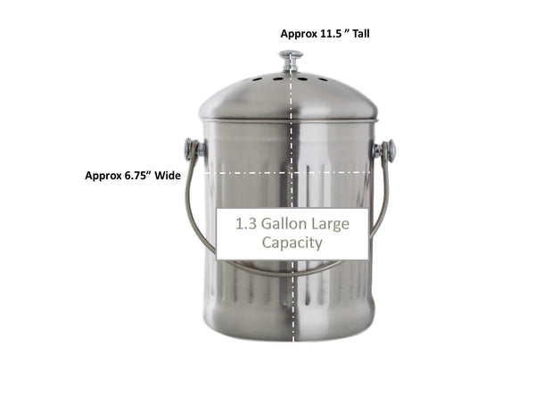 Kitchen Compost Pail – 1.3 Gallon Large Capacity Food Scrap Bin, Leak proof Stainless Steel - Includes 1 Year's Worth of Charcoal Filters & Liner Bags