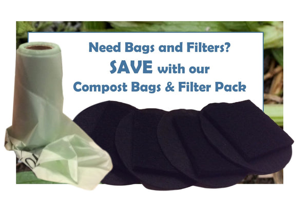 Compost Pail Filters & Bag Combo Pack for Large 1.3 to 1.5 Gallon Compost Pail