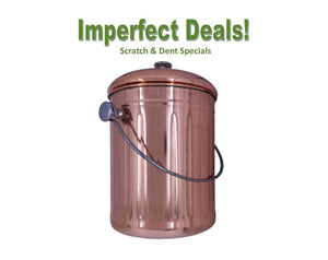 Imperfect Deals - 1 Gallon Compost Pail, Stainless Steel w/ Copper Coating (Factory Blemishes)