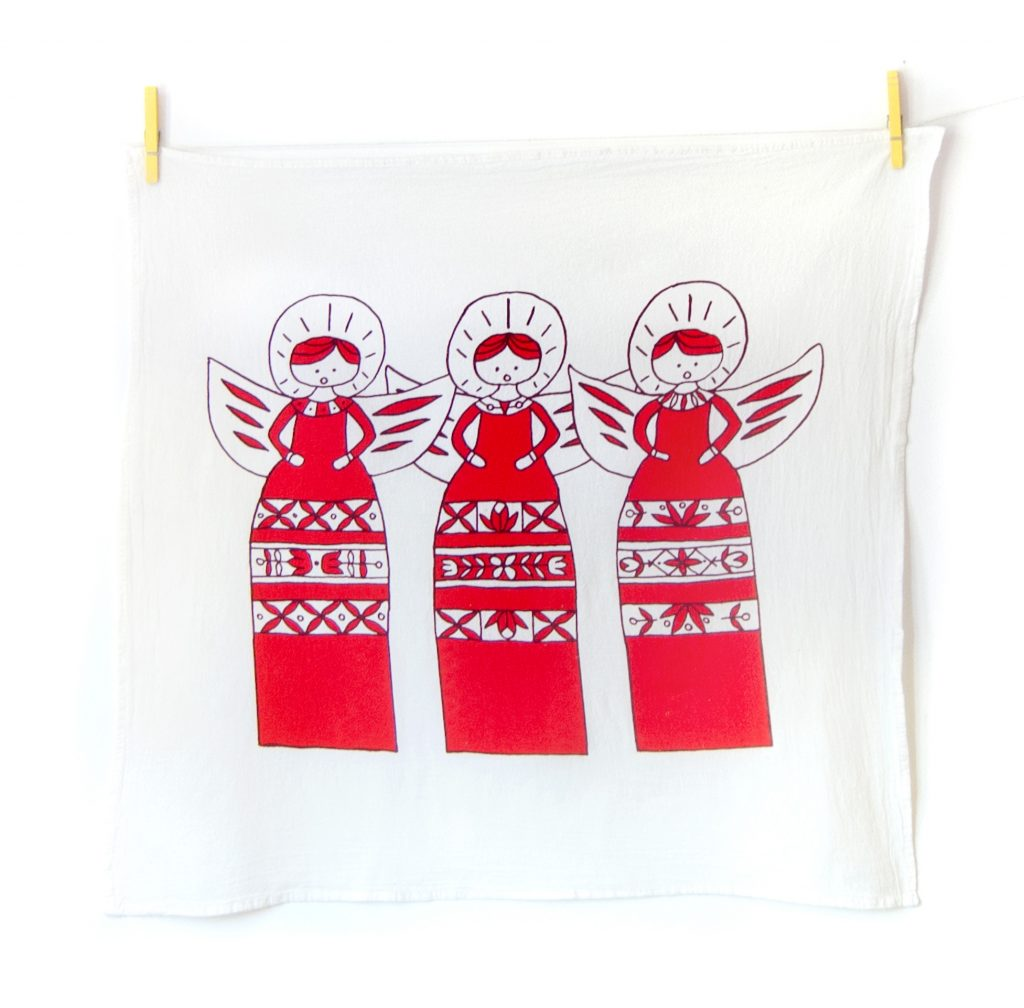 The Caroling Angels Christmas Tea Towel