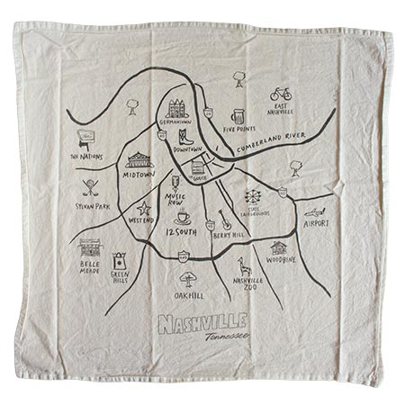 Nashville Tennessee Map Print Towel