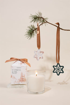 Cypress & Fir Candle in Gift Box with Ornament Pop Outs