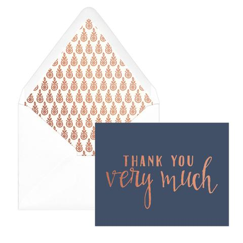 Thank You Note Card Set in Navy & Copper