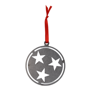 Small Tristar Metal Ornament with Red Hang Ribbon