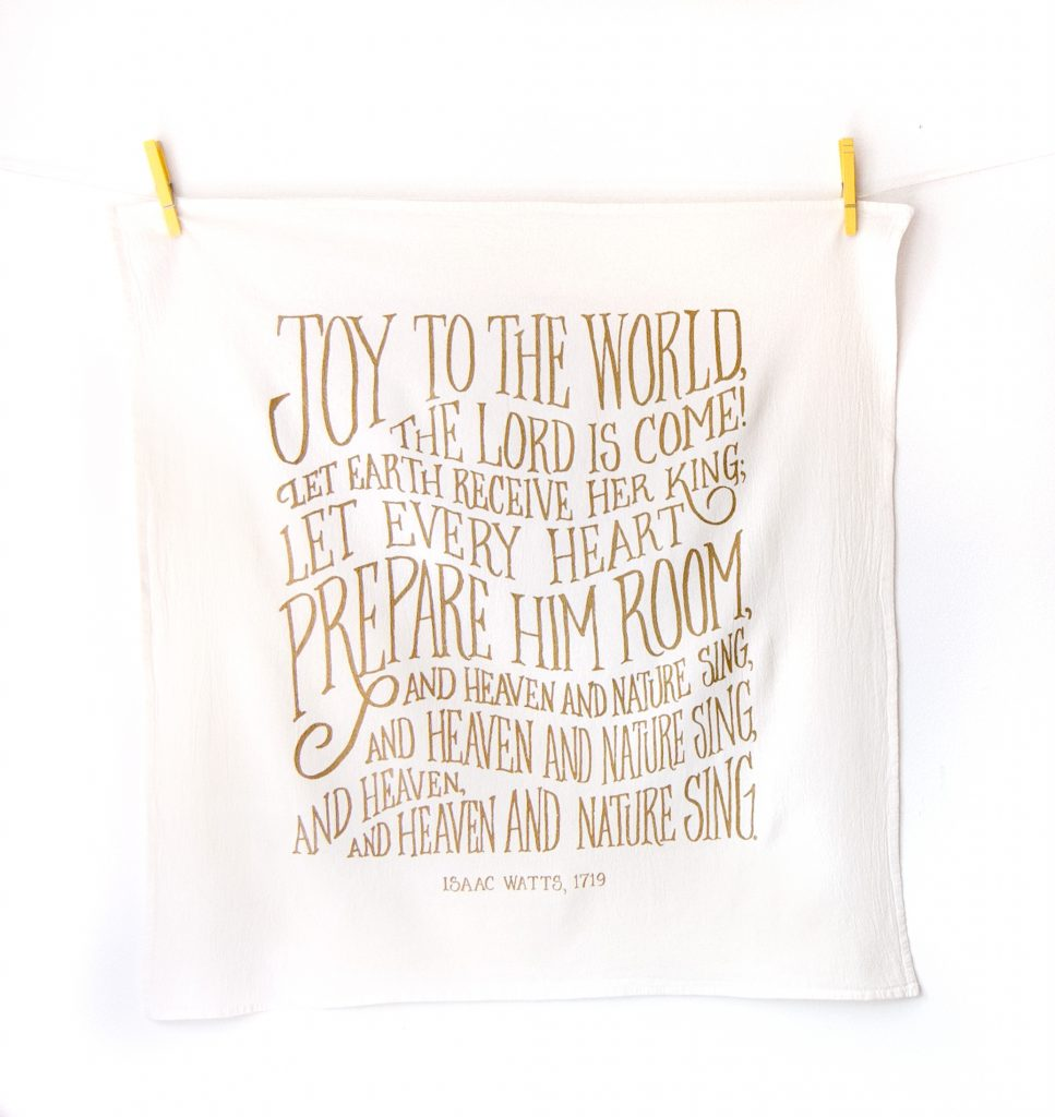 Joy to the World Christmas Tea Towel