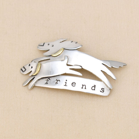 Dogs 'Friends' Pin in Silver & Brass