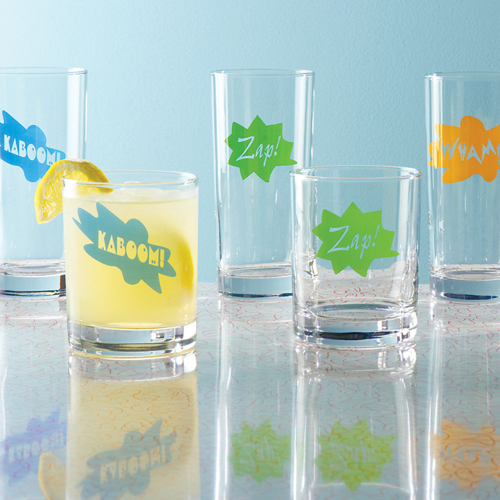 Action-Packed Glass Tumblers, Set of 4