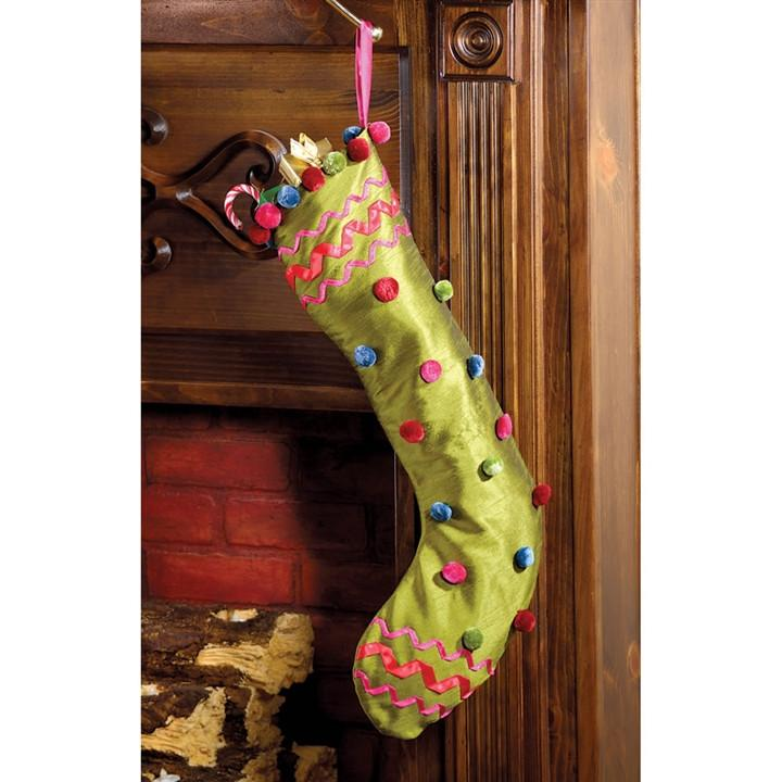 Raw Silk Pom Pom Christmas Stocking