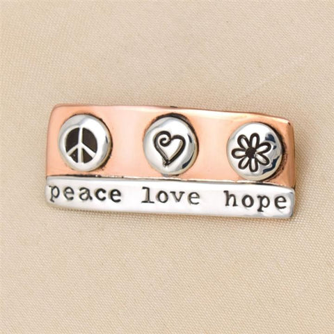 Peace Love Hope Silver & Copper Pin (NB)