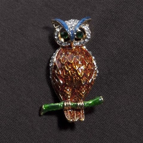 Crystal and Enamel Owl Pin