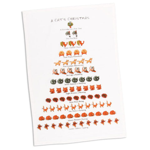 12 Days of Cats Christmas Tea Towel