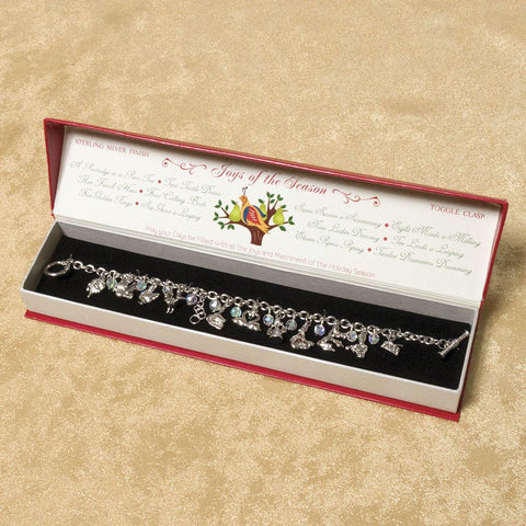12 Days of Christmas Silver Charm Bracelet