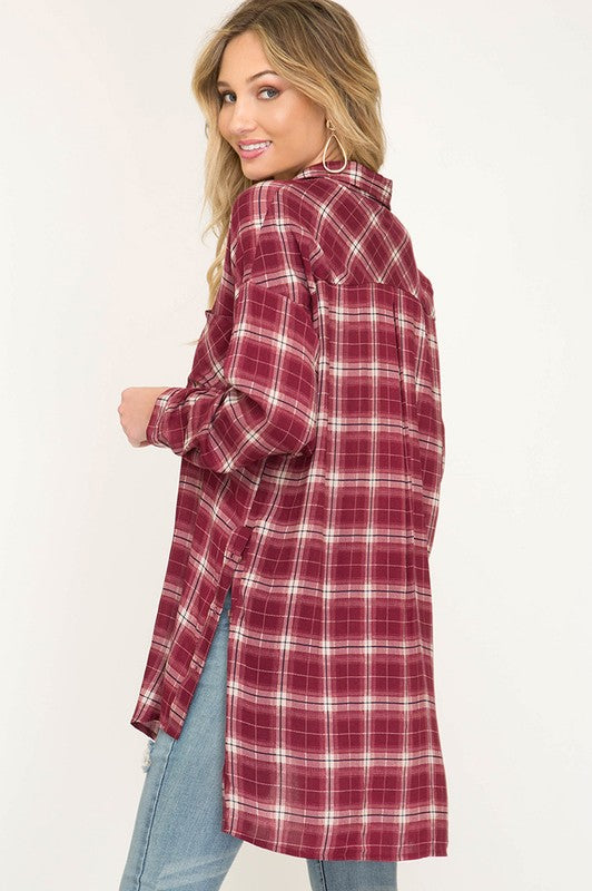 OVERALL BETTER PLAID TOP