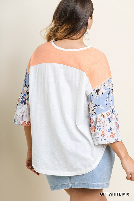 LOVING ME FLORAL SLEEVE BELLE TOP