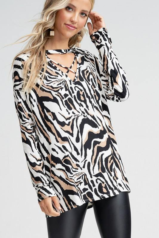 BLOG WORTHY ANIMAL PRINT LONG SLEEVE TOP